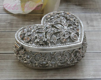 Beautiful Heart Shape Swarovski Crystal Box, Wedding Ring Box, Wedding Arras,