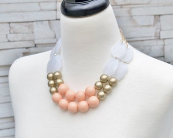 SALE!! Peach Gold White Chunky Statement Necklace - Beaded Jewelry - Fashion Two Layering Strand Necklace Jewelry  -  Sale Price Jewelry