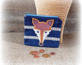 Fox Purse, Coin Purse, Denim Purse, Zip Purse, Folk Art Pouch, Applique Purse, Recycled Gift, Upcycle Purse, Unique Purse, Eco Friendly Gift