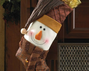 Cute Happy Snowman Christmas Stocking Holiday Decoration