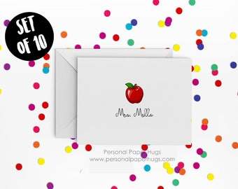 Apple Note Cards - Personalized Apple Note Cards - Teacher Stationery - Teacher Thank You cards - Teacher Note Cards - Apple Stationery