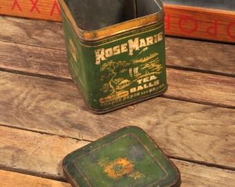 Small Primitive Rose Marie Tea Tin, Vintage Tin Box, Orange Pekoe, Tea Balls, Primitive Farmhouse Kitchen Antique, c 1925, RUSTIC PATINA!