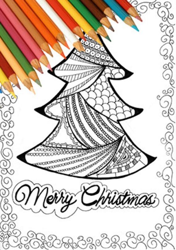 christmas tree coloring page printable zentangle greeting card