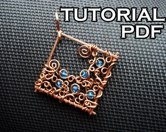 Pendant tutorial, wire wrap tutorial, PDF titorial, jewelry lessons, DIY jewelry, Wire jewelry tutorial step by step, Wrapping Pattern