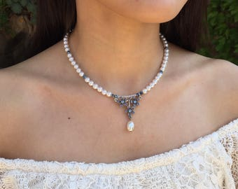 Blue rhinestone forget-me-nots and soft white pearl necklace