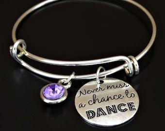 Never miss a chance to Dance Bracelet, Never miss a chance to Dance Charm, Dance Bracelet, Dance Jewelry, Dance Teacher, Dance Coach Gift