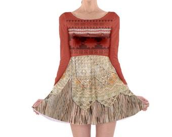 Moana Inspired Long Sleeve Skater Dress