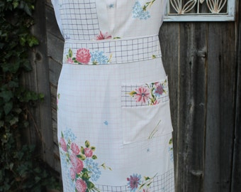 Vintage Tablecloth Pink and Blue Floral Full Apron