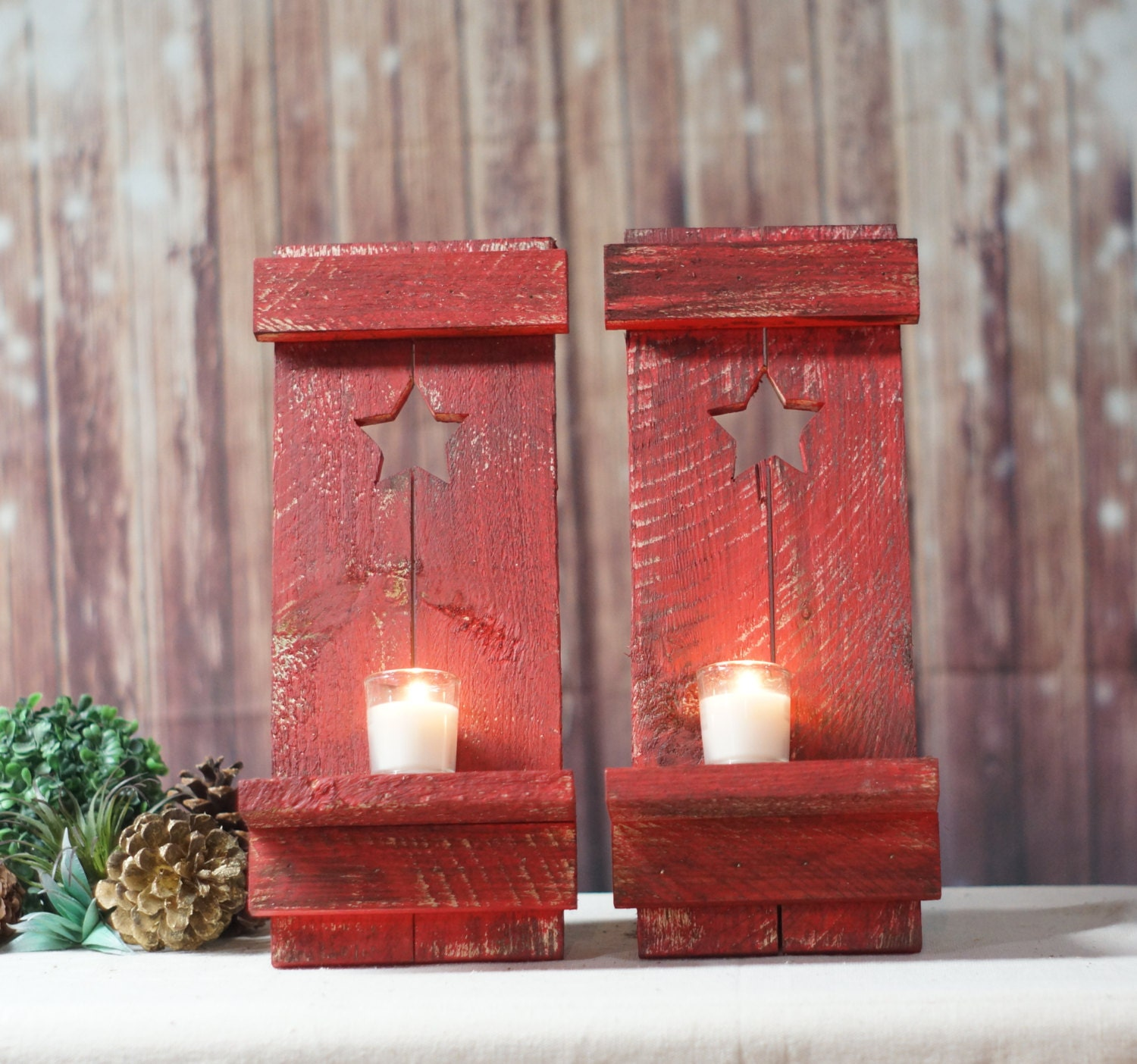 Rustic Star Wall Sconces : Red Primitive Star Rustic Wall Sconce Reclaimed Wood Sconce
