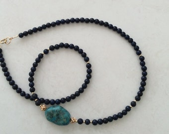Real Turquoise nugget/ Lapis Lazuli necklace 24/14k gold filled    19 inch