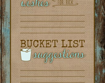 Rustic Surprise Retirement Wishes/Bucket List Card DIGITAL FILE