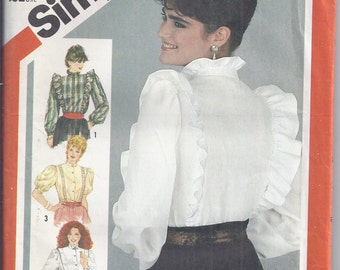 Simplicity Pattern # 5609 from 1982:  Misses Set of blouses, Bust 34, UNCUT