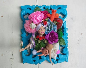 Barbie assemblage, ooak Barbie, Barbie doll, framed wall art, Wall hanging, Floral wall decor, doll assemblage, Mixed media, framed doll art