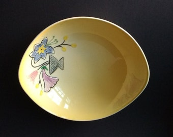 Shorter & Son bowl, yelllow, pink and blue flowers, hand painted, vintage, old, unusual, rare, salad, bread, serving dish