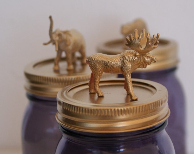 Ball Mason Jar with Golden Animal Lid // Home Decor // Unique Gifts // Mother's Day Gift // Storage Jars // Teacher's Gift // Gift Ideas