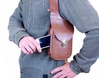 Leather holster bag DELUXE - Leather shoulder holster bag Made in FRANCE