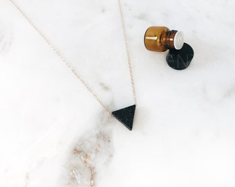The Original Minimalist Lava Triangle Essential Oil Diffuser Necklace - Dainty 14K Gold Filled, Sterling Silver, 14K Rose Gold Filled - 18""