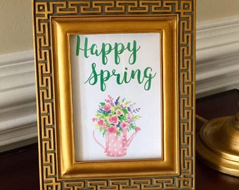 Happy Spring Art Print - Spring Sign - Gardening - Rain Boots - Floral - 5x7 or 8x10
