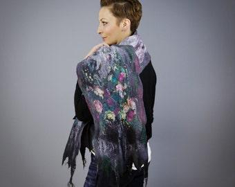 Spring Roses /  Handmade felted scarf /  Merino wool / Nuno felt /  Gray / Wool scarf / Felted shawl/ Free shipping.