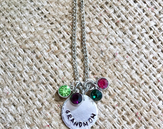 Grandmom Necklace, Custom Name Necklace, Name Necklace, Custom Necklace, Hand Stamped Jewelry, Gift for Grandmom, Birthstone Necklace
