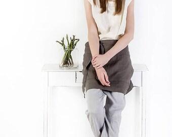 Half linen apron, natural fabrics apron, Linen midi apron, criss cross apron, cafe apron, washed tea linen apron, linen clothing, linen