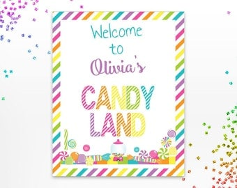 Candyland Welcome Sign, Candy Land Yard Door Sign, Personalized Candyland Birthday Party Print, Rainbow Party, Various Sizes, Digital File