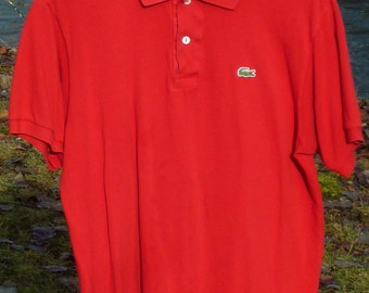 LACOSTE 5 RED Polo Peru Devanlay Mother of Pearl 2 Hole Vertically Sewn Buttons Genuine Lacoste Polo Lacoste 5 Polo Size LARGE Lacoste Polo