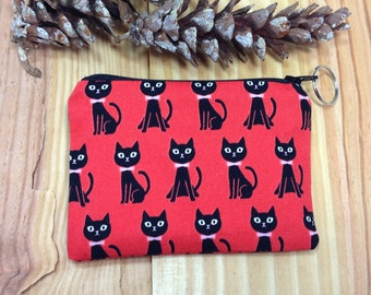 Black Cats Coin purse, Change purses, Zip pouch, gift under 10, Cat Lover, co-worker gift, zip purse, handmade, teacher gift,Japanese fabric