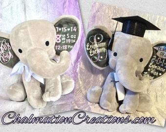 Personalized Elephant Plush for Newborn Stats, Grads, Birthdays
