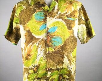 "Vintage 60s, Hawaiian Shirt, Brown & Yellow, Floral Shirt, Cotton, Waltah Clarke, Honolulu, Chest 48"", Hawaiian Shirt, Aloha Shirt, VLV"