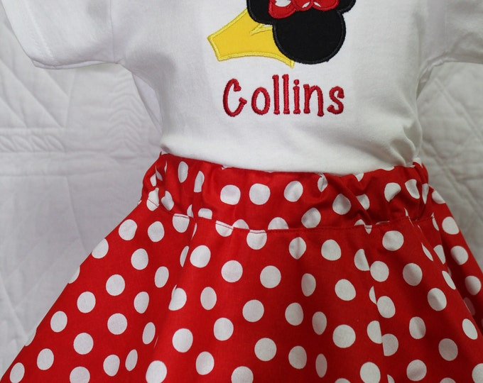 I'm Twodles birthday outfit,girl 2nd birthday outfit,girls second birthday,Minnie Mouse birthday shirt,Minnie mouse red polka dot skirt