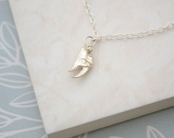 Crab Claw Necklace, Sterling Silver Cast Sealife Jewellery, Cancer Zodiac July Pendant