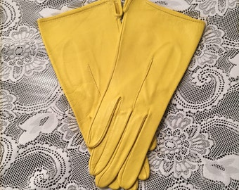 Vintage Yellow Leather Gloves