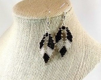 Russian Leaf Earrings, Black Earrings, Boho Chic Gift, Bohemian Jewelry, Seed Bead Earrings, Beaded Earrings - READY TO SHIP