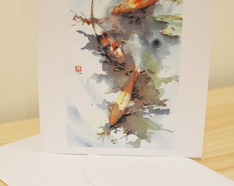 Lilly Pond - Greetings Card Japanese Watercolour Print with Envelope - Original by Yuko Sekiguchi A03 FREE SHIPPING in UK