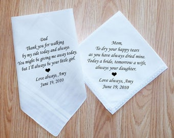 Wedding Gifts For Parents Handkerchief : Wedding Handkerchiefs - Set of 2 - For Parents - Wedding Gift For ...