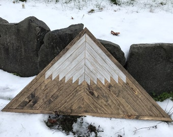 Rustic Wood Mountain Triangle Wall Art