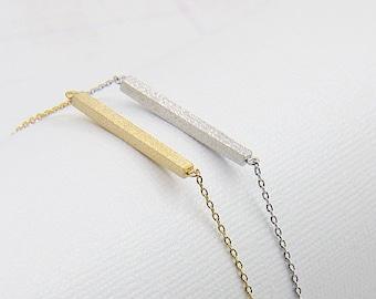 Minimalist Brushed Bar Dainty Silver Chain Bracelet - Everyday Layering Bracelet - Modern Bracelet - Delicate Bracelet - Gift for Her