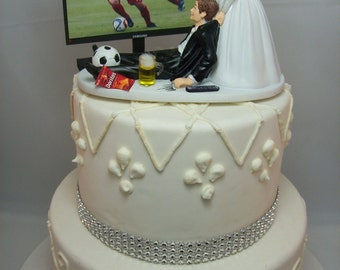 funny wedding cake toppers soccer fan veils etsy 14606