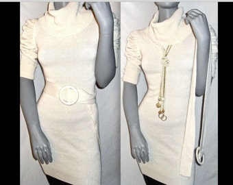 Gorgeous Holiday Winter White Ivory Cream Beige Knit Tunic/Dress Sweater Short Sleeve Pullover With Peal Accents and Matching Belt! S/M/L