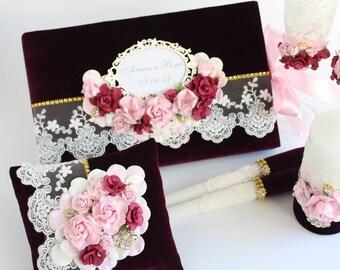 Velvet Ring Pillow Handmade Wedding Vintage Engagement Gift Bride Mauve Pink Sugar Milky Plum Antigue Gold Black Deep Emerald Cranberry Blue