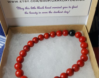 Dark Day Design ~ Red Ceramic Beads with Start Today Metal Charm
