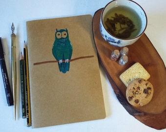 Owl - Hand Painted Notebook - Hahnemuhle Sketchbook 13x21cm