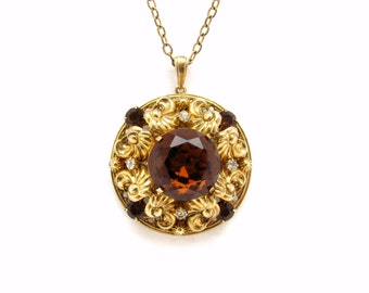 Gold filigree round gold pendant necklace Antique filigree necklace 18k gold necklace pendant Solid gold pendant necklace Long gold chain