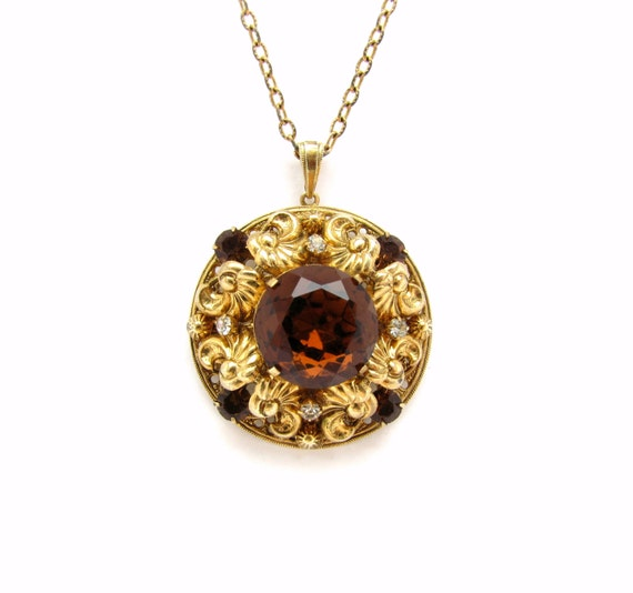 Gold filigree round gold pendant necklace antique filigree like this item mozeypictures Gallery
