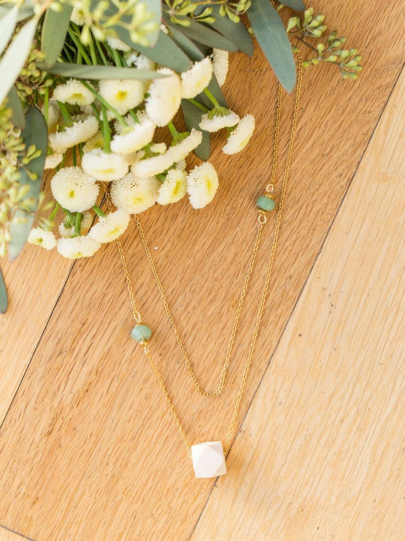 Layered Double Gemstone Diffuser Necklace (Gold)