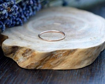 Skinny 9ct Solid Rose Gold Ring - Thin Wedding Band - Skinny Stacking Ring - Minimalist Jewellery
