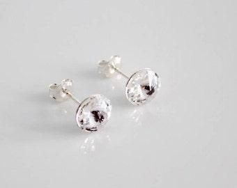 Clear Swarovski Crystal Studs on Sterling Silver Posts; Lightweight; Hypoallergenic; Diamond; 8mm Round