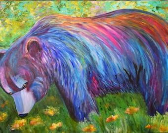 Nature's Beauty, Black Bear in Wildflower Meadow,Bear Painting