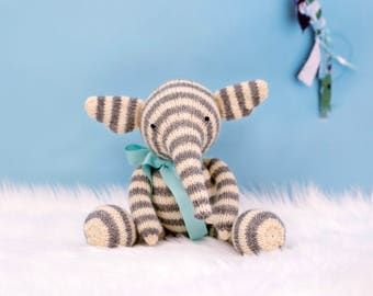 Knit Elephant, Baby Gift Idea, Kids Gift, Handmade Doll, Elephant Doll, Cute Stuffed Animal, Knit Toy, Plush Doll, Wool Toys, Gender Neutral
